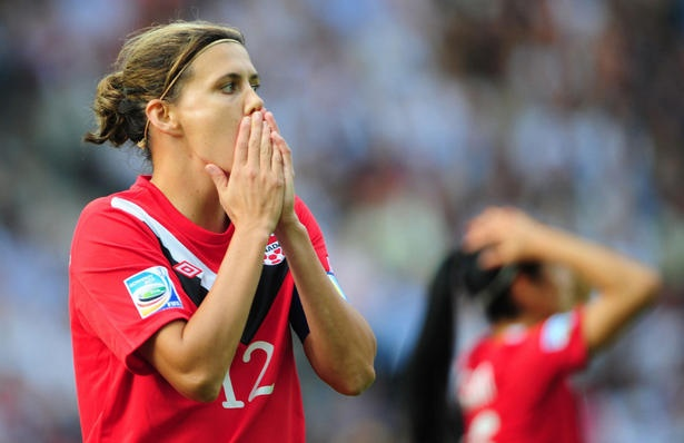 Christine Sinclair, womens international Canadian soccer. Awesome goal in FIFA opener!