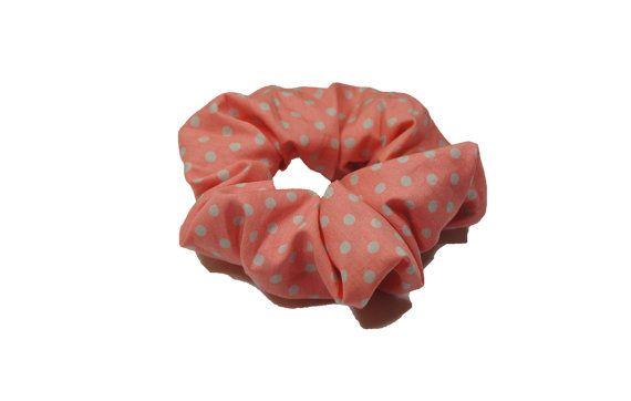 "salmon pink polka dot cotton scrunchie  by TheScrunchiePuss - 22"""