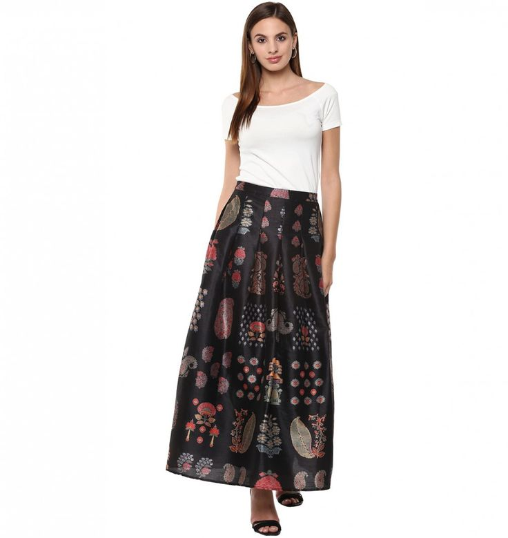 Buy Indian Designer Black A-Line Skirt With Kashmiri Booti Prints Online