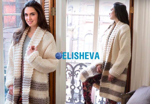 Модное женское пальто от Heather Lodinsky из толстой пряжи, вязаное спицами (+ ВИДЕО) | Блог elisheva.ru