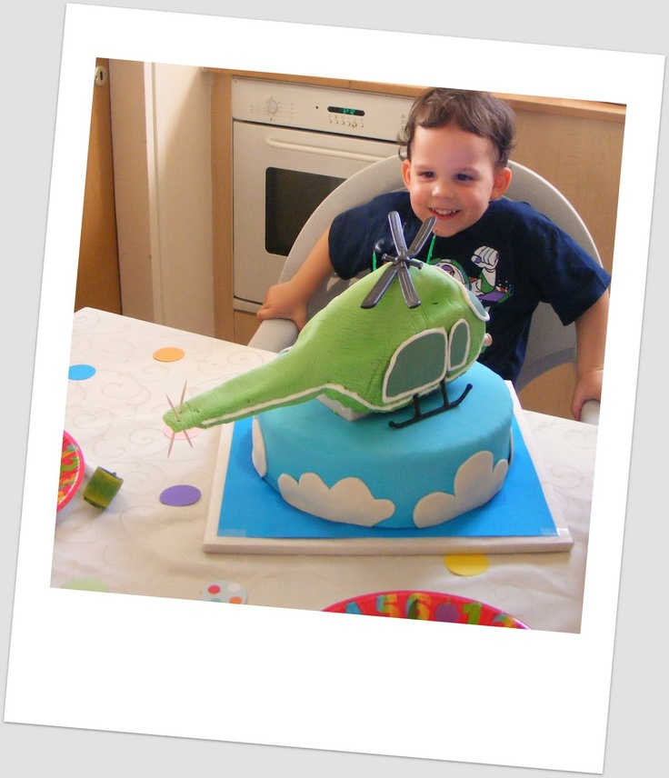 helicopter cake, the helicopter is actually rice krispy treat inside