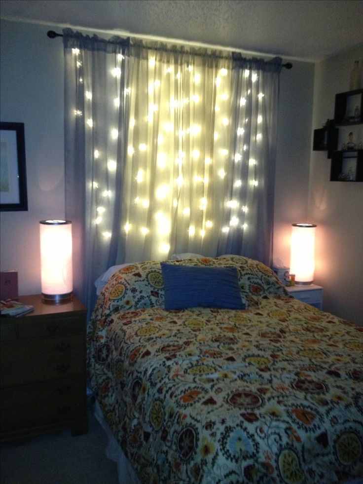Christmas Lights And Sheer Curtains As A Light Headboard Things I 39 Ve Created Pinterest