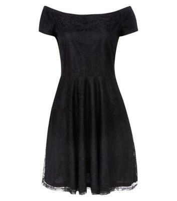 black lace Bardot neck skater dress