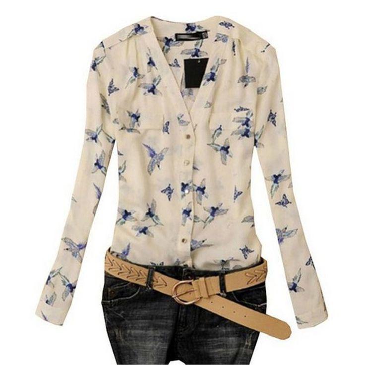 Encontrar Más Blusas y Camisas Información acerca de Mujeres atractivas de moda elegante Bird imprimir blusa manga larga camisas delgadas ocasionales JY3, alta calidad Blusas y Camisas de IUNeed Business Co.,Ltd. en Aliexpress.com