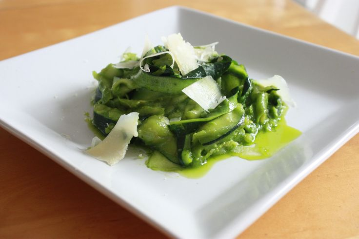 Zucchini Linguine with Spinach and Parmesan Pesto