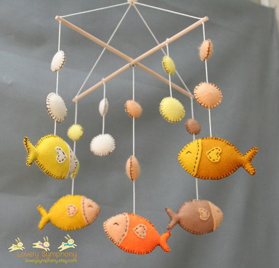 Tropical fishes baby mobile golden fishes by LovelySymphony