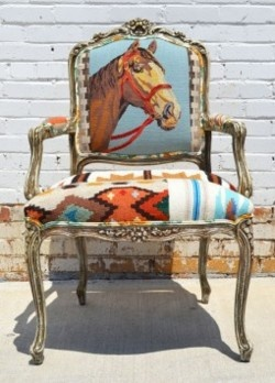 needle point chairVintage Chairs, Horses Ranch House, Hors Chairs, Ranch Style, Needlepoint Chairs, Horses Chairs, Upholstery Ideas, Chairs Addict, Accent Chairs