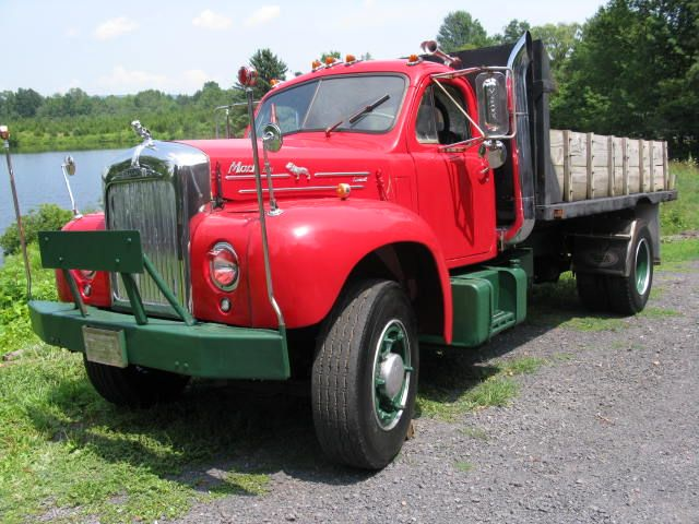 "vintage flatbed truck for sale | This is a 1959 Mack ""B"" Model with a flatbed dump body and it has ..."