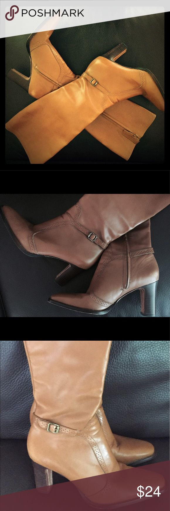Antonio Melani leather boots 7.5 camel brown high Used but in good condition. All Leather made in Brazil. Beautiful camel color. Glove fit. Cute buckles and wooden heel. ANTONIO MELANI Shoes Heeled Boots