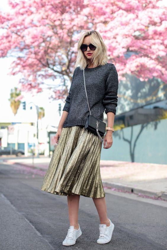 Pleated skirt with knit sweater