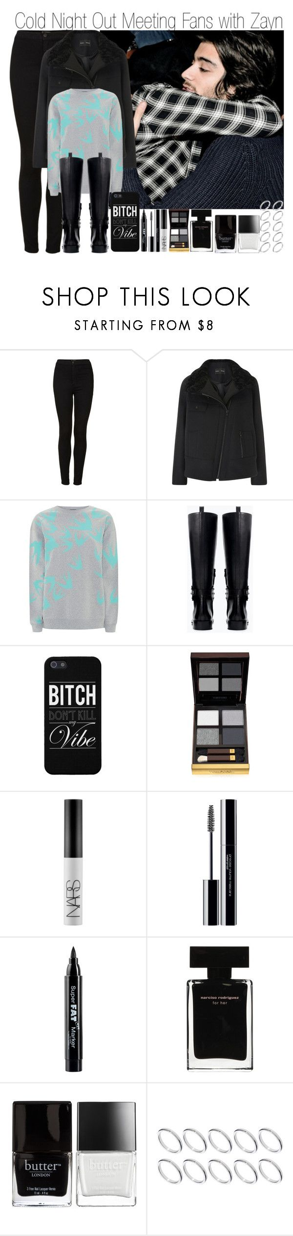 """""""Cold Night Out Meeting Fans with Zayn"""" by elise-22 ❤ liked on Polyvore featuring Topshop, Proenza Schouler, McQ by Alexander McQueen, Zara, Tom Ford, NARS Cosmetics, shu uemura, NYX, Narciso Rodriguez and Butter London"""