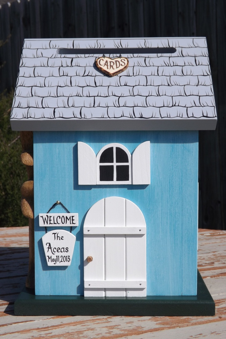 wood wedding card holders%0A Wedding Card Box Cottage Birdhouse with Heart Carved Tree          via Etsy