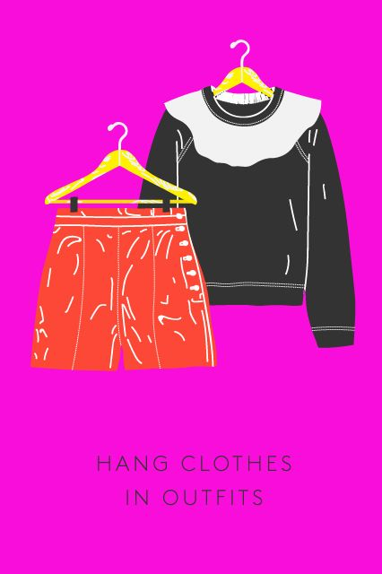 How To Hack Your Morning Dressing Routine #refinery29  http://www.refinery29.com/how-to-get-ready-faster#slide-9  Hang Clothes In Outfits Even the most creative among us have their favorite combinations. Save yourself the time you usually spend frantically searching through your closet for an item's second half and just group them together on the hanger.