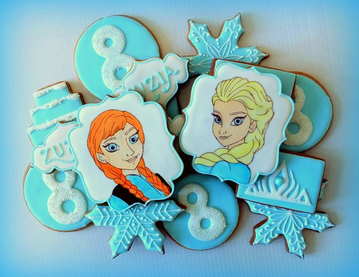 Frozen cookies - icing and handpainted