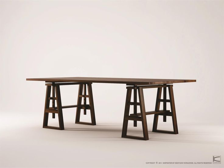 Inspired by a carpenter's work bench in combination with the abundant long table feasts of the Vikings, the Trestle table speaks of the owner's love of tradition and history embedded in modern living. The table begs to host rowdy dinner parties but also quiet Sunday breakfasts. Made from 100% certified solid wood of American black walnut, European Oak or reclaimed teak, the table comes in natural colors and has the potential to become the centerpiece of the room  www.karpenter.com