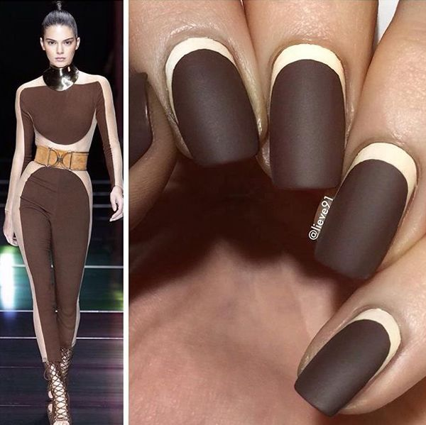 Deep brown matter nails is perfect. But to make it even better, add a cream crescent moon around the nail. It's kind of inspired by this runway look of Kendall Jenner.