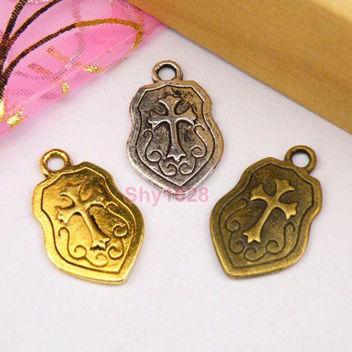 8Pcs-Tibetan-Silver-Gold-Bronze-Knight-Shield-Charm-Pendants14-5x23-5mm-M1142