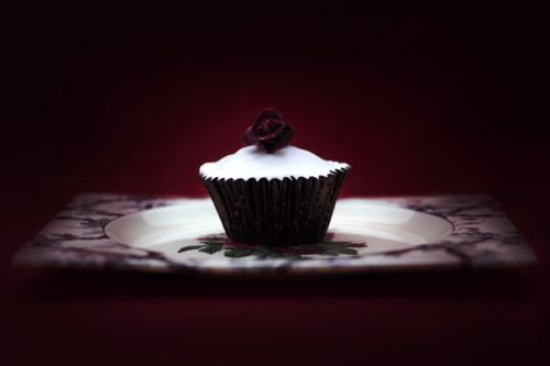 """Blood Rose Cupcake"" - lightjet photograph by Jonathan Cameron"