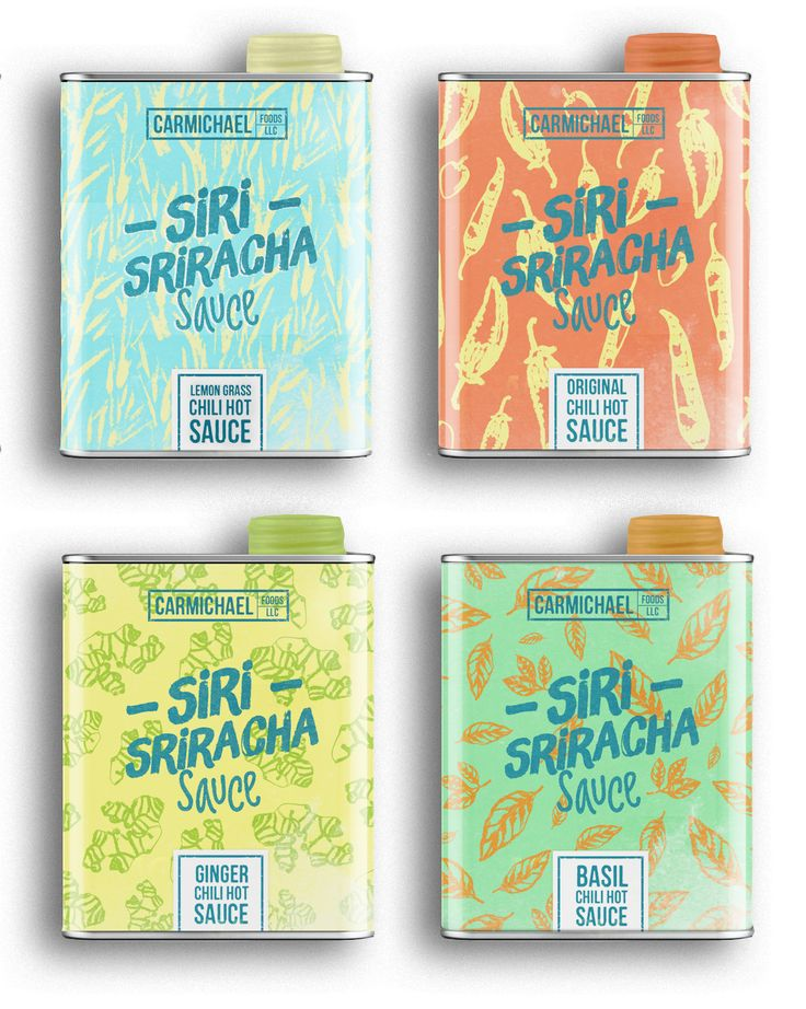 André Moreira created a colorful pattern driven packaging for the original  chili hot sauce, Siri Sriracha Sauce. Each sauce comes a tin container  letting the silver of the tin play with the colors on the packaging.