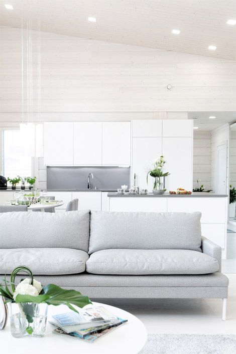 gray + white: Grey Couch, Beach House Kitchens, Modern White Grey Living Rooms, Lighting Grey, Livingroom, Decoration Idea, Grey Sofas, White Interiors, Lounges Rooms Idea Ikea