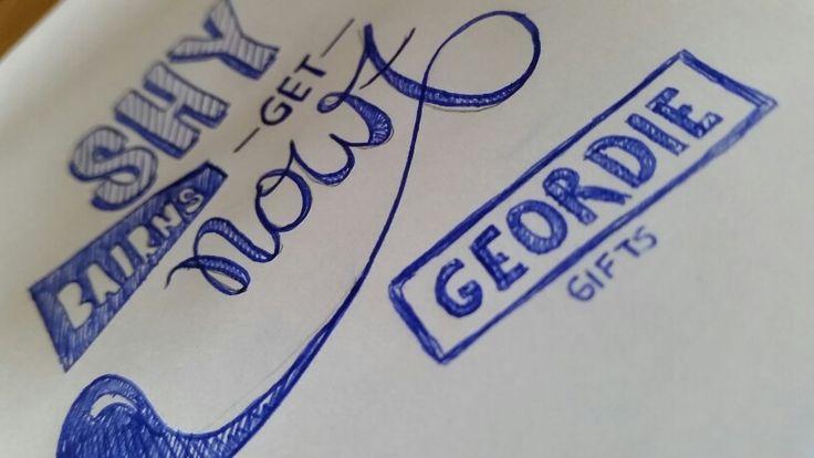 Shy bairns get nowt Geordie gifts doodle.