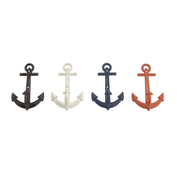 4 Assorted Metal Anchor Hooks. Assorted 4 metal anchor hooks, multicolor. Complete your coastal bathroom look with the anchor hooks. The beautiful anchor hooks are easy to install and coordinate with any coastal look. Anchor shower curtain hooks will bring a supremely nautical look to your bathroom decor. Dimensions : 5x2x8