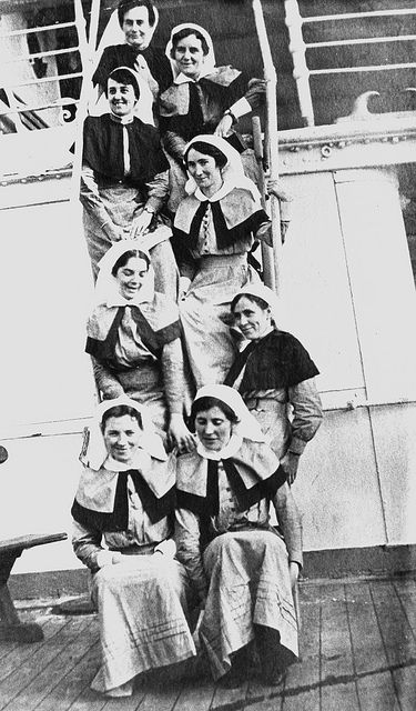 Group of Australian AANS and QAIMNS nursing sisters on board the hospital ship: SS Assaye returning to Egypt from England, November 1915. B 57607.