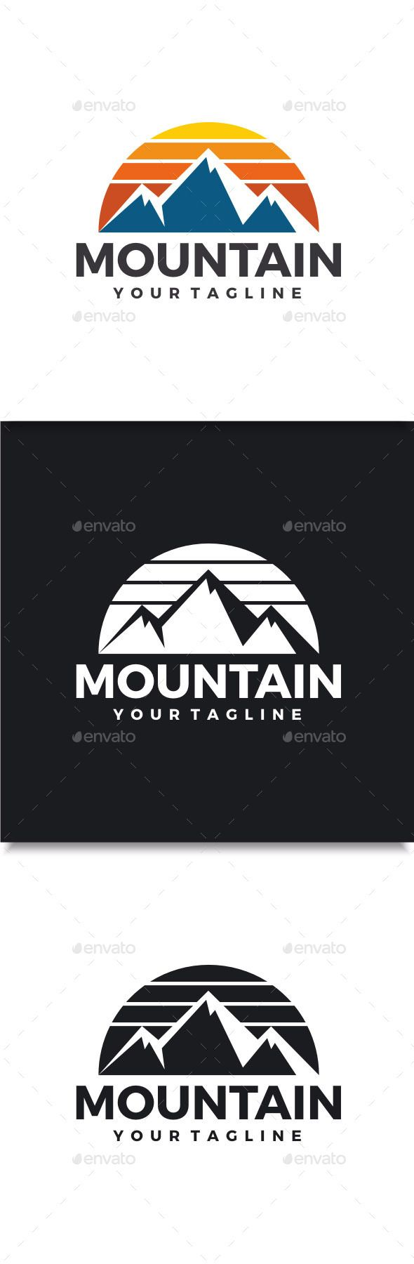 Mountain Logo (Vector EPS, AI Illustrator, Resizable, CS, adventure, climb, climbing, design, graphic, high, hill, landscape, logo, mountain, nature, outdoor, peak, scene, snow, sun, template, travel, vector)