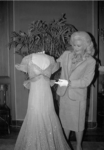 "Ginger Rogers presents her 'Piccolino' dress from ""Top Hat"" to the National Museum of American History in 1984 (photo by Jeff Tinsley)"