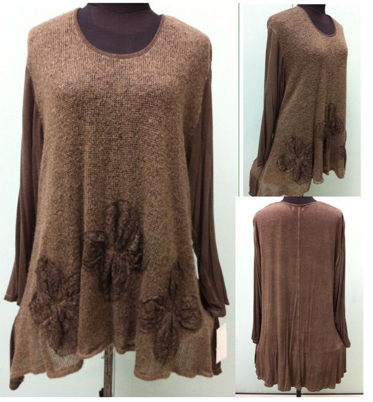 Lagenlook Tunika Shirt Pullover feinem Strick A-FORM Bigsitz 50,52,54,56  ITALY