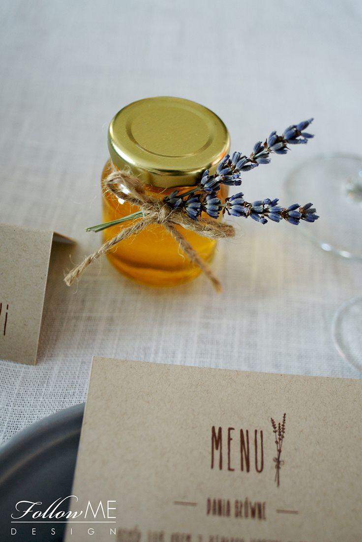 Podziękowanie dla gości - mini miodziki z lawendą / Rustykalne Dekoracje ślubne od FollowMe DESIGN / Wedding Favors - Honey Jar Favors with Lavender / Rustic Wedding Decorations & Details by FollowMe DESIGN
