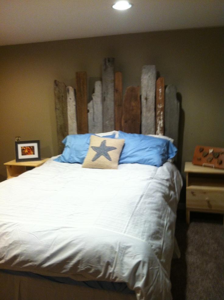 Driftwood headboard driftwood ideas pinterest for Beach house headboard ideas