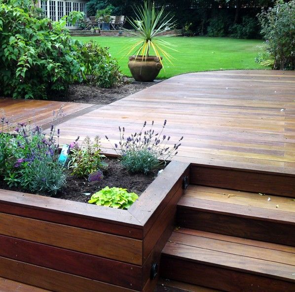 I like the planter beside the steps to the deck.