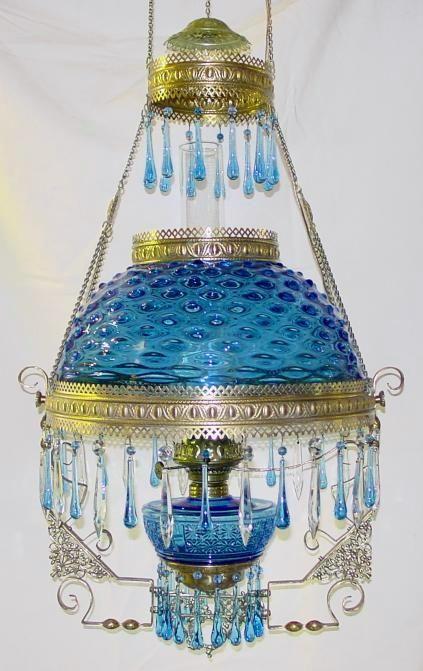 1890's Blue Hobnail Hanging Parlor Lamp w/ Blue Teardrop Prisms & Blue Fount