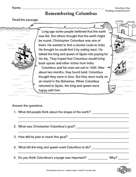 Columbus Day Worksheet Reading Prehension Reading