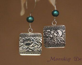 Zen Lotus Flower Earrings in Sterling - Silver Baroque Pearls Floral Dangle Earrings - Unique Floral Drop Earrings - Bohemian Earrings