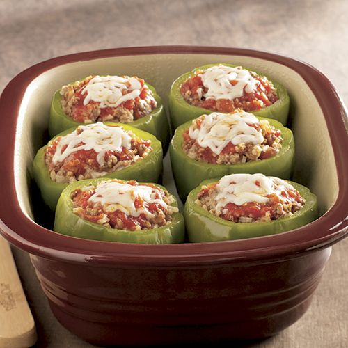 Italian Stuffed Bell Peppers - The Pampered Chef® Pampered Chef Baker or Rockcrok