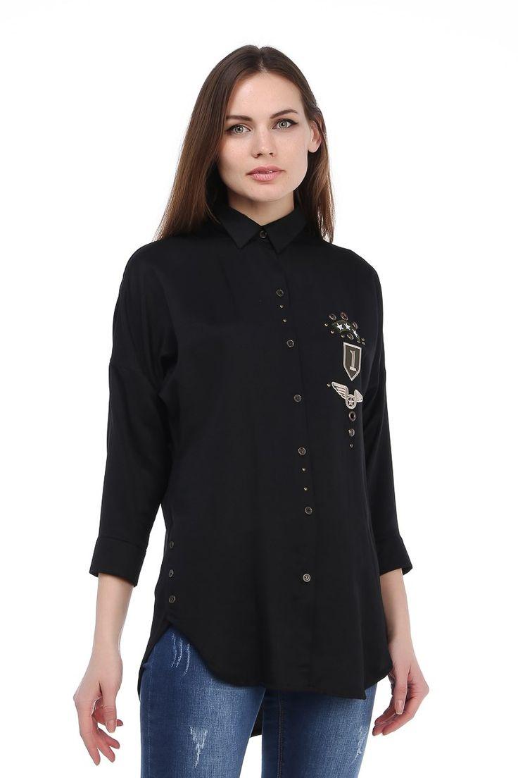 Siyah Armalı Bayan Gömlek