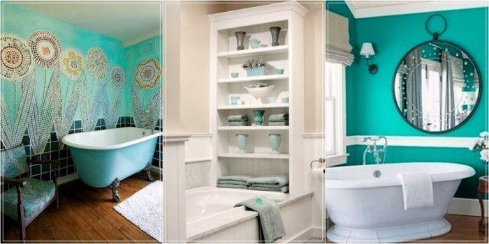 Idee e ispirazioni per arredare un bagno color turchese, bianco e verde acqua