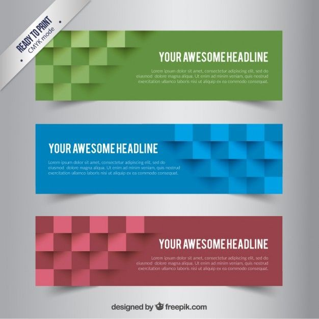Banners with abstract cubes Free Vector