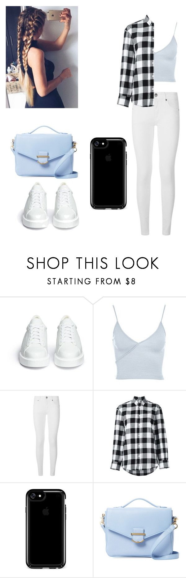 """""""Blue bæ"""" by veggiegirl101 ❤ liked on Polyvore featuring Robert Clergerie, Topshop, Burberry, Golden Goose, Speck and Cynthia Rowley"""
