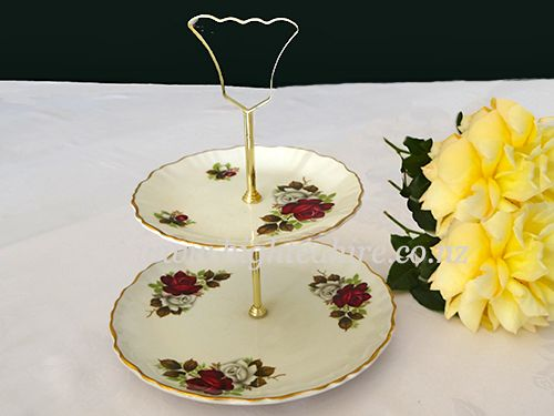 Old Foley English bone china tiered plate for hire