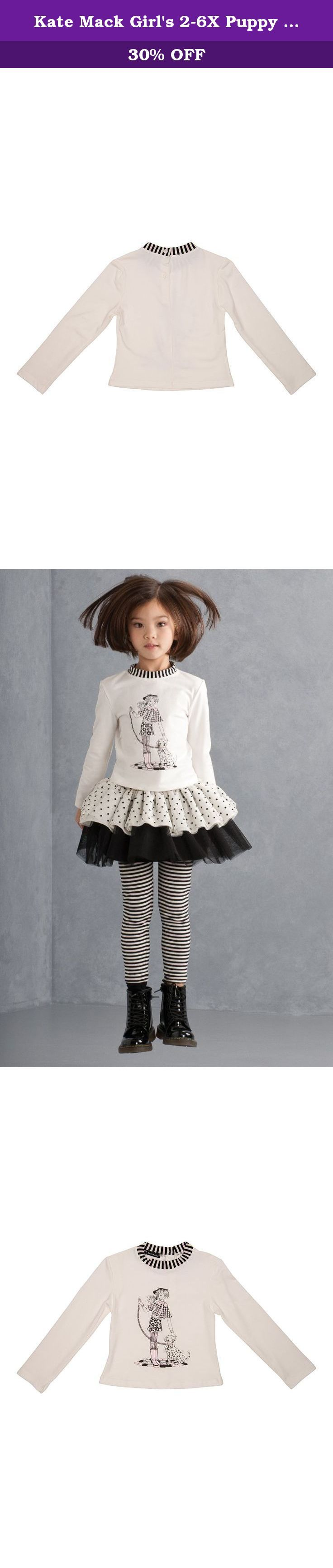 Kate Mack Girl's 2-6X Puppy Love Tee - Size 6X, Ivory. The whimsical little girl and her puppy decorating this adorable tee shirt will put a smile on the face of your own little darling. Stripes framing the neckline and tiny pearl embellishments add an extra measure of charming detail.