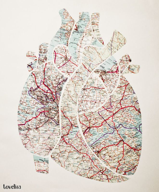 Heart Map: Idea, Craft, Diy Art, Maps, Heart Map, My Heart, Heart Diy, Art Projects