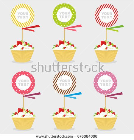 Set of  vector similar cute cupcakes with tablets for children holiday