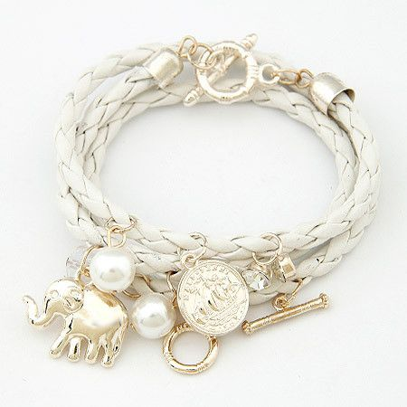 Charm Bracelets & Bangles PU Leather Jewelry Bijoux Elephant Pulseira Feminina Pulsera Mujer Femme