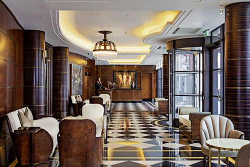 """Beaumont Hotel, London. Featured as an Italian car dealership in """"The Adventure of the Italian Nobleman""""."""