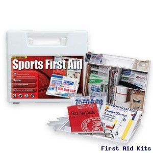 Large Sports First Aid Kit. #first #aid #kit #firstaidkit #bandage #compress #coldcomress #antiseptic #moleskin. This 71 piece first aid kit was developed specifically for sports activities such as: baseball, badminton, basketball, cheerleading, gymnastics, bowling, field hockey, football, golf, little league, rugby, sailing, skating, soccer, softball, swimming, t-ball, table tennis, tennis, track, volleyball, self defense, wrestling etc.
