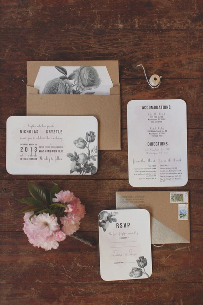 black and white floral invitations photo