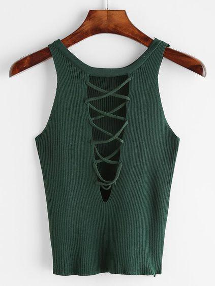 Top de punto de canalé de espalda con cordones - verde